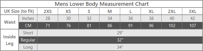 mens lower body size measurements